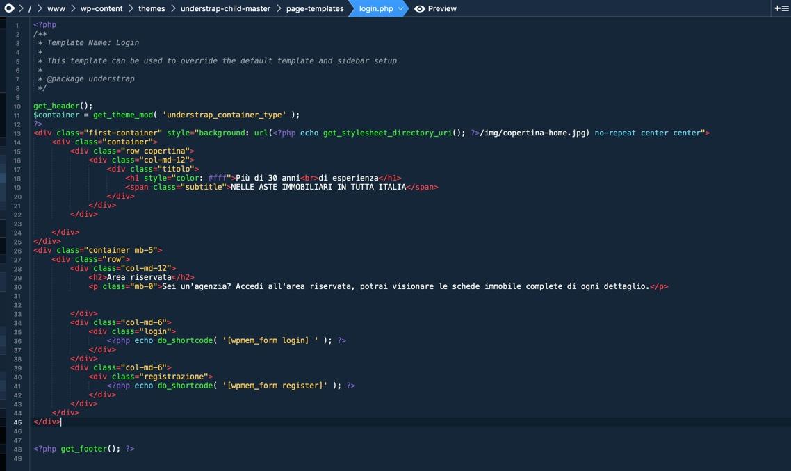 Codice per area login