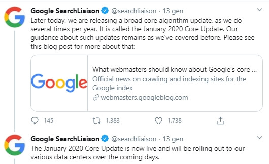 core update gennaio 2020 annunciato da google su twitter
