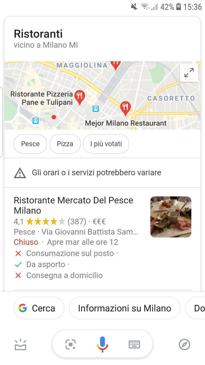 Voice search del miglior ristorante di Milano