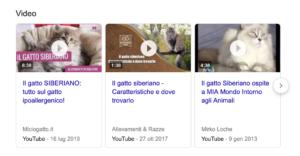risultati video serp google