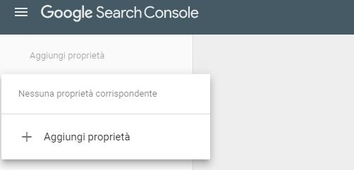 Aggiungi proprietà Google Search Console