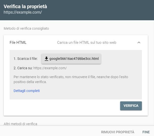 verifica proprietà Google Search Console