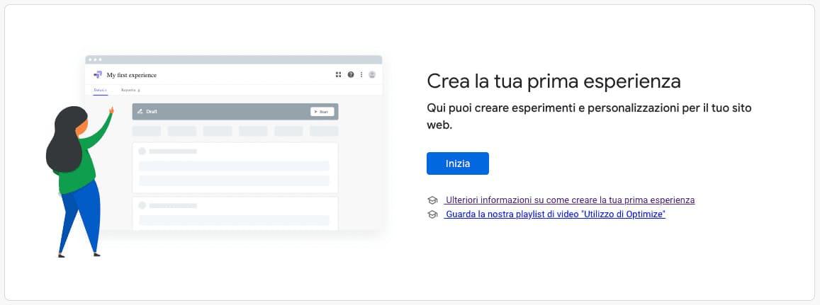 Crea esperienza Google Optimize