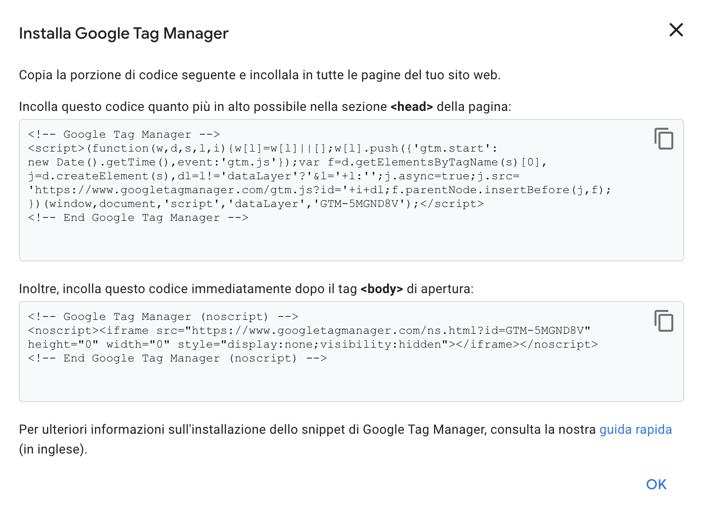 Installare Google Tag Manager