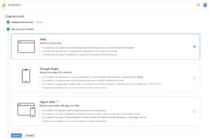 impostare proprietà Google Analytics