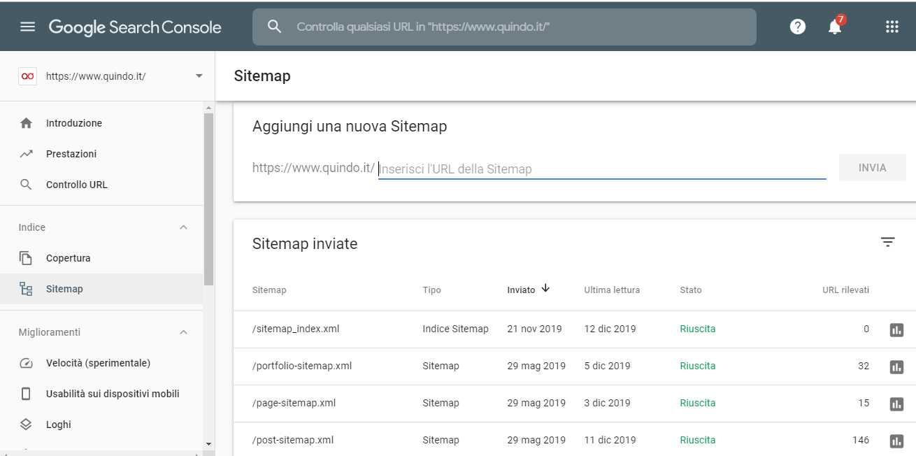 inviare sitemap tramite google search console