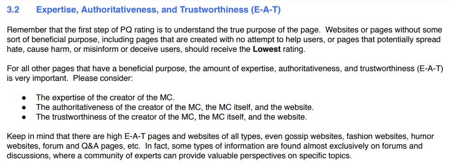 estratto dalle linee guida google per quality raters