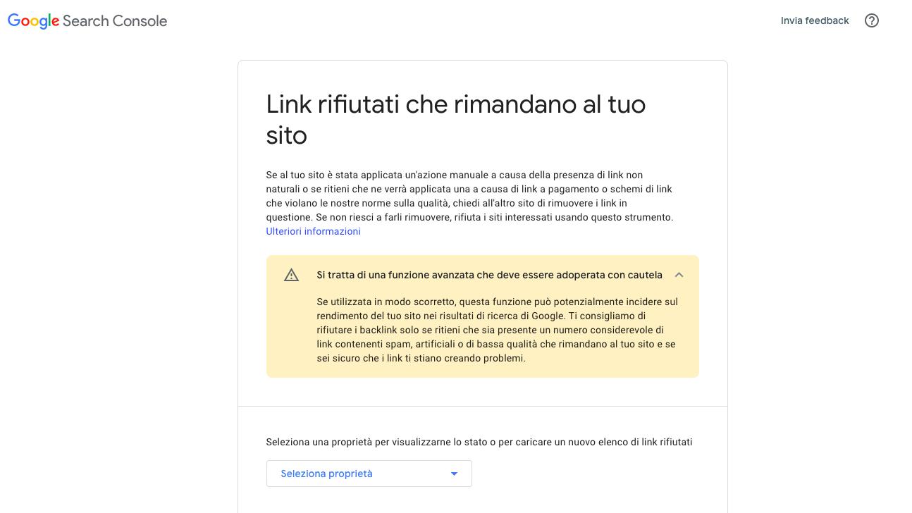 messaggio disavow link Google search console