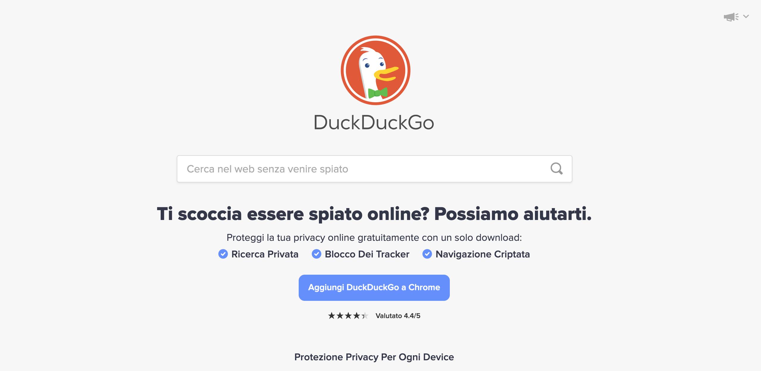 motore di ricerca DuckDuckGo