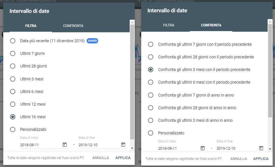 report per date google search console