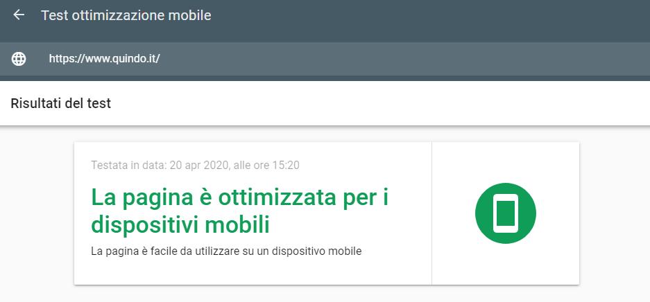 Test di ottimizzazione mobile di Google