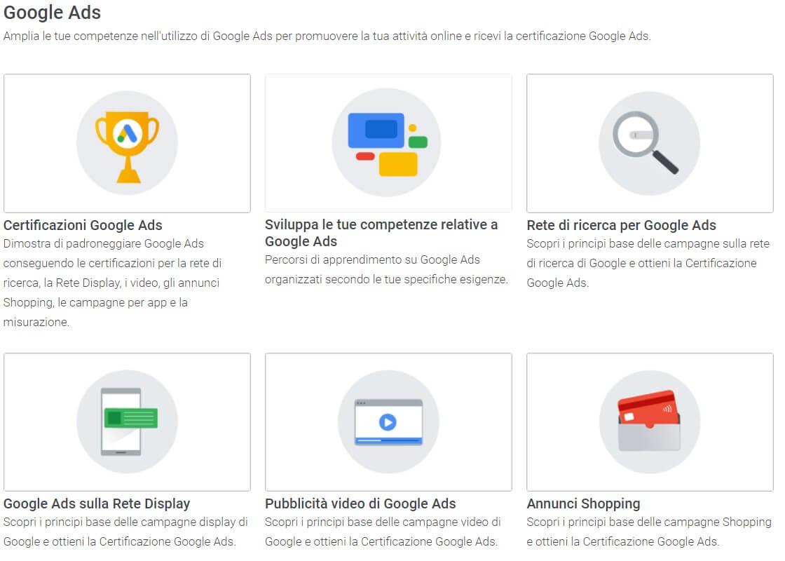 certificazioni google ads e corsi su skillshop